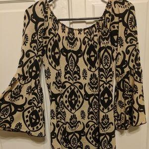 Women's boho ruffle sleeve dress